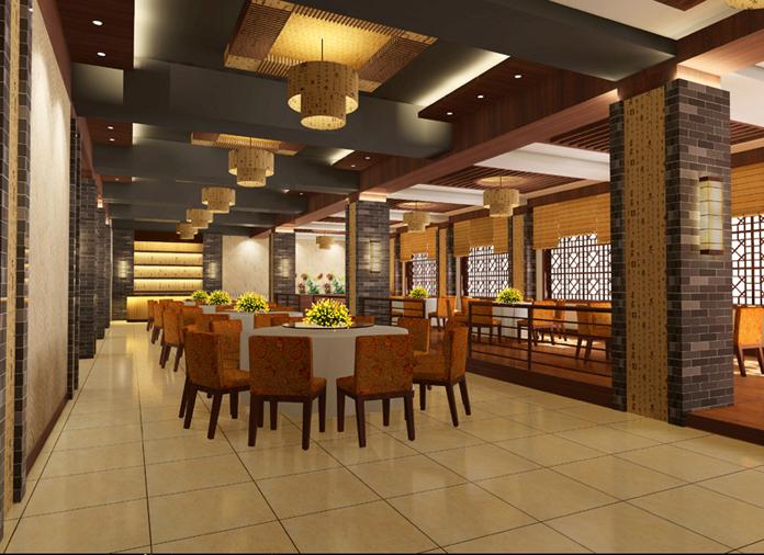 一个简约中式湘菜馆设计效果图 _餐厅装修效果图 - 图