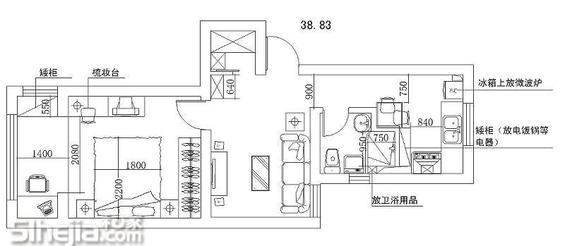 设计师:自己&同学茅茅装修风格:混搭,厨卫简约,客厅宜家,卧室田