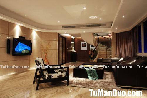 现代中式复式客厅实景图_大户型装修 - 大户型设计