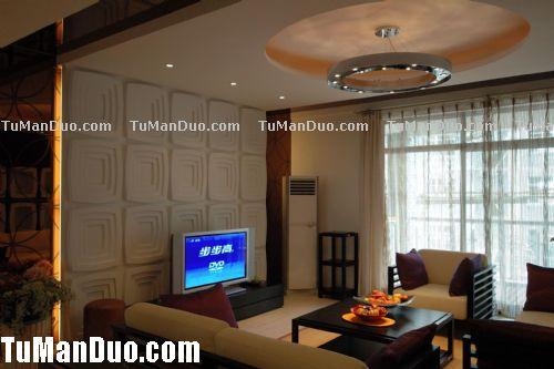 现代中式客厅实景图_中式装修效果图